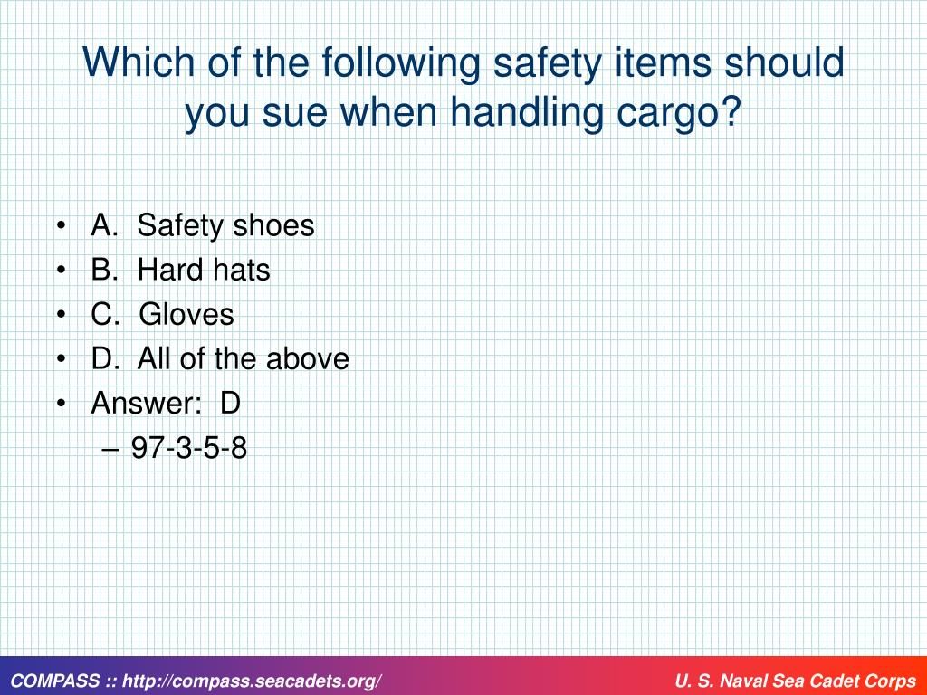 Which of the following safety items should you sue when handling cargo?