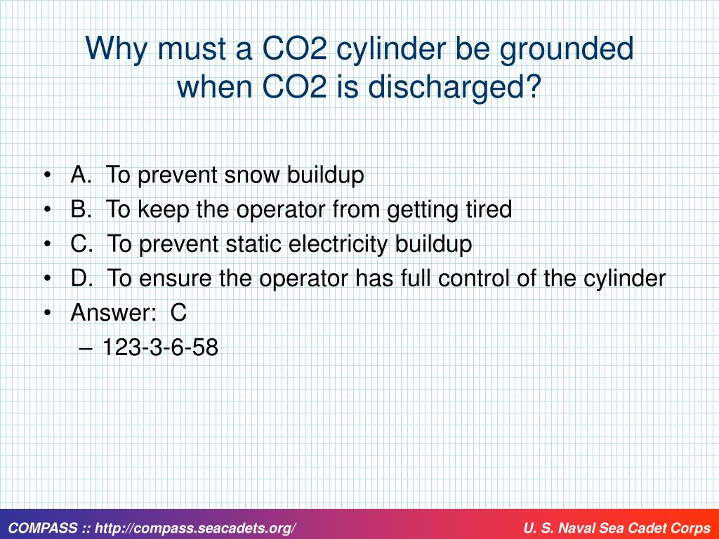 Why must a CO2 cylinder be grounded when CO2 is discharged?