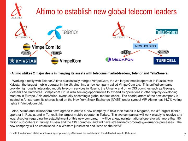 Altimo to establish new global telecom leaders
