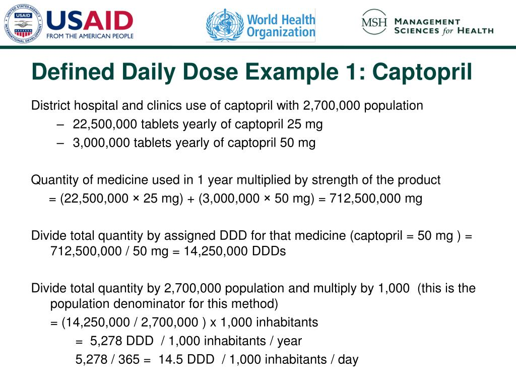 District hospital and clinics use of captopril with 2,700,000 population