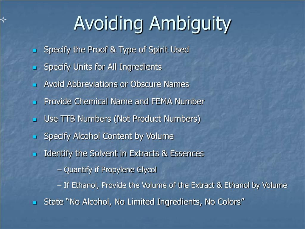 Avoiding Ambiguity