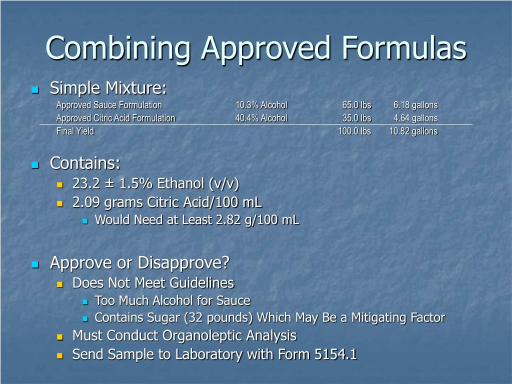 Combining Approved Formulas