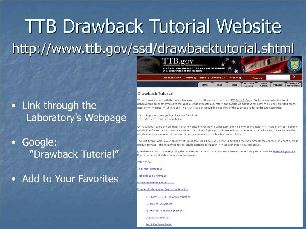 TTB Drawback Tutorial Website
