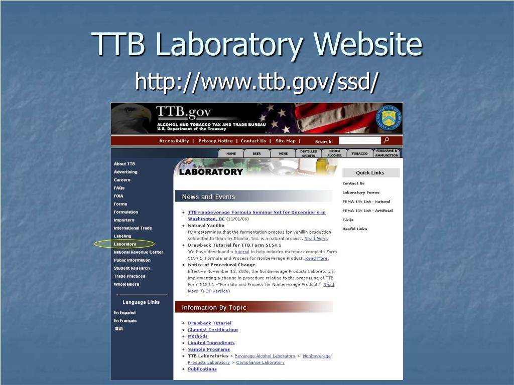 TTB Laboratory Website