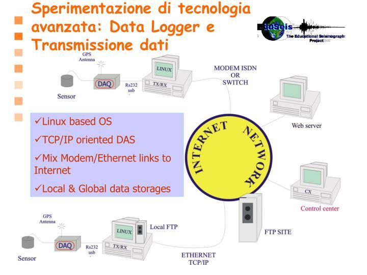 Sperimentazione di tecnologia avanzata: Data Logger e  Transmissione dati