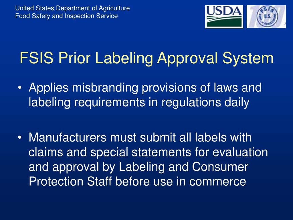 FSIS Prior Labeling Approval System