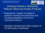 growing interest in marketing natural meat and poultry products