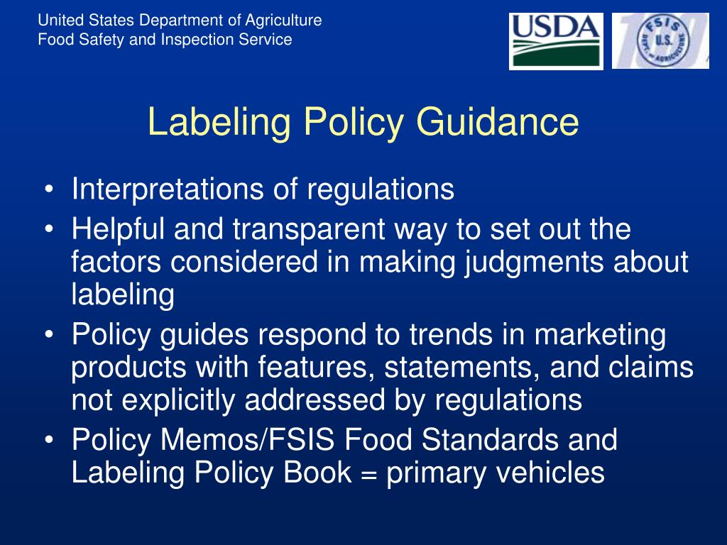 Labeling Policy Guidance