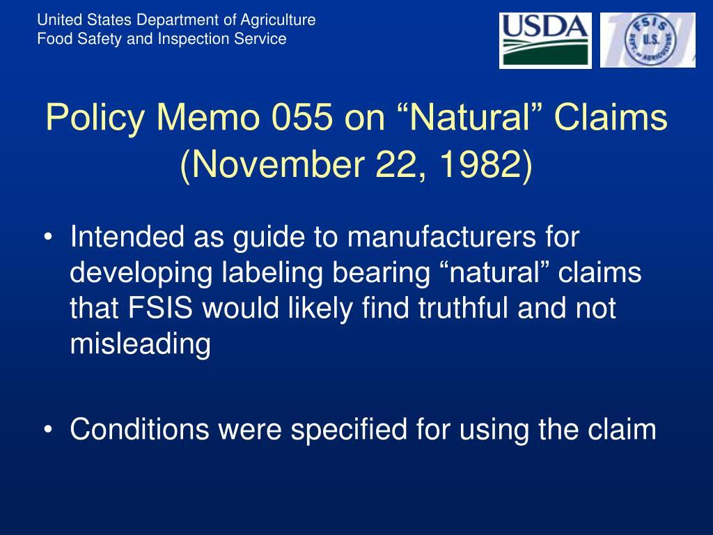 "Policy Memo 055 on ""Natural"" Claims (November 22, 1982)"