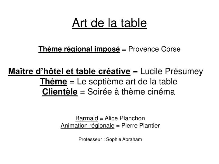 Art de la table th me r gional impos provence corse