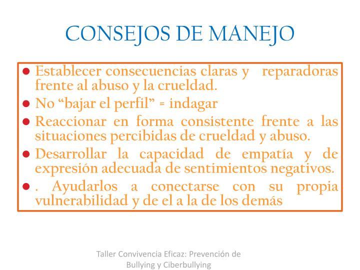 CONSEJOS DE MANEJO