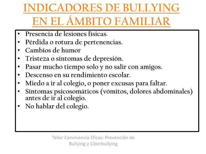 INDICADORES DE BULLYING EN EL ÁMBITO FAMILIAR
