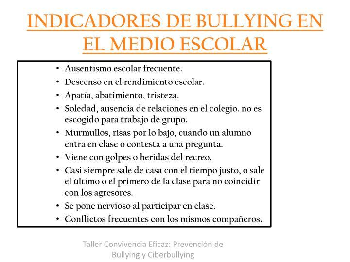 INDICADORES DE BULLYING EN EL MEDIO ESCOLAR