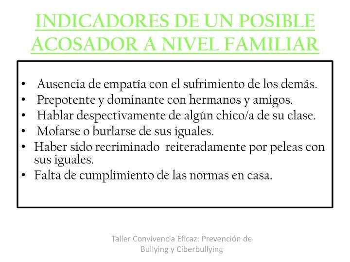 INDICADORES DE UN POSIBLE ACOSADOR A NIVEL FAMILIAR