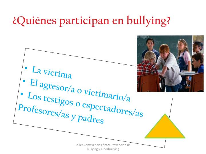 ¿Quiénes participan en bullying?