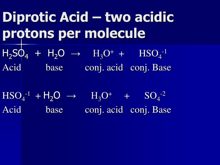 Diprotic Acid – two acidic protons per molecule