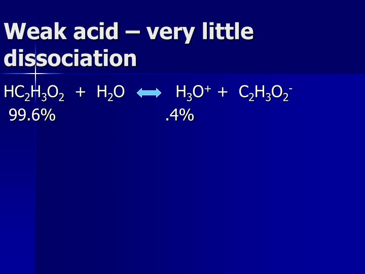 Weak acid – very little dissociation