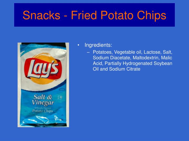 Snacks fried potato chips