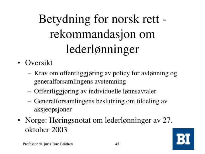 Betydning for norsk rett -