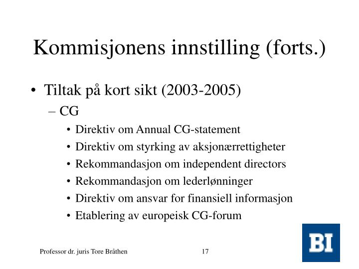 Kommisjonens innstilling (forts.)