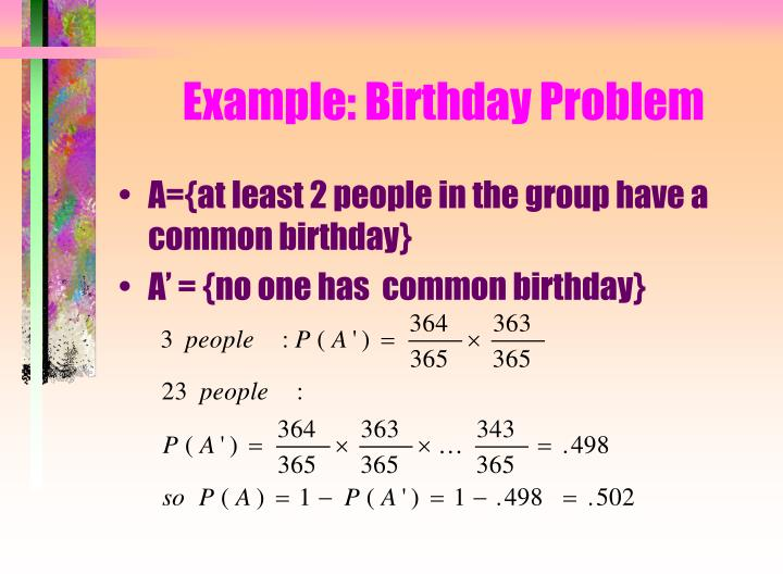 Example: Birthday Problem