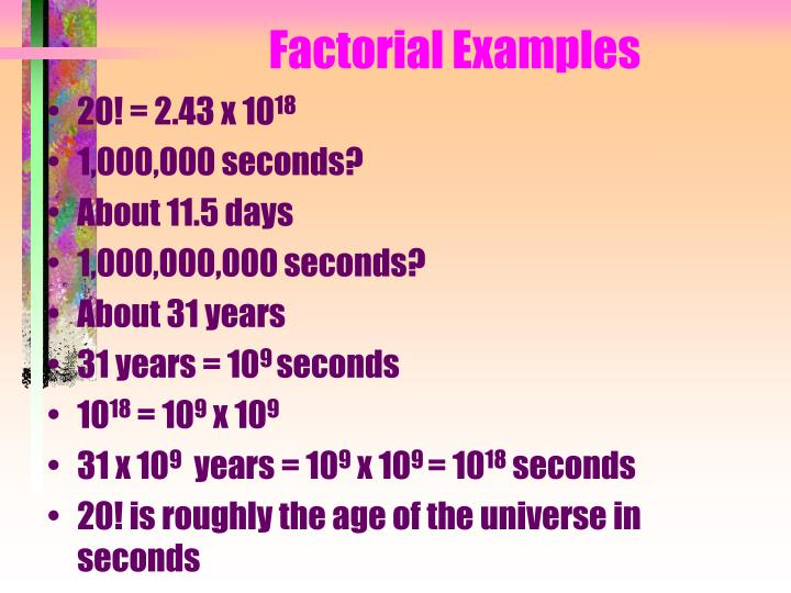Factorial Examples