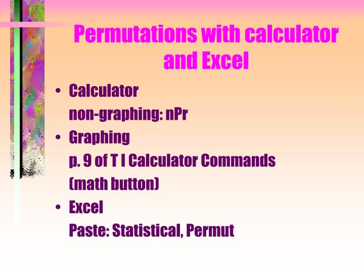 Permutations with calculator and Excel