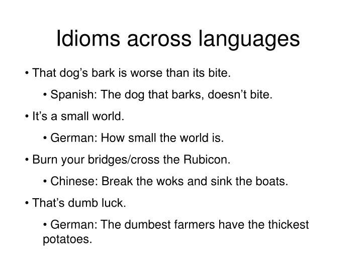 Idioms across languages