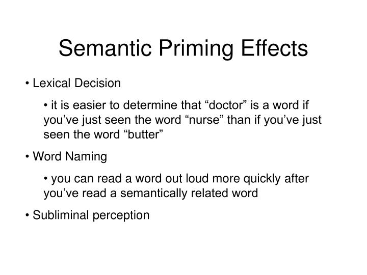 Semantic Priming Effects