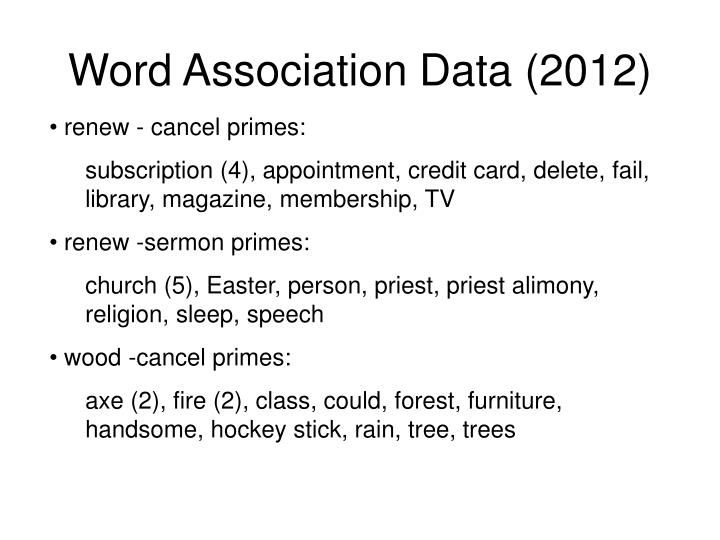 Word Association Data (2012)