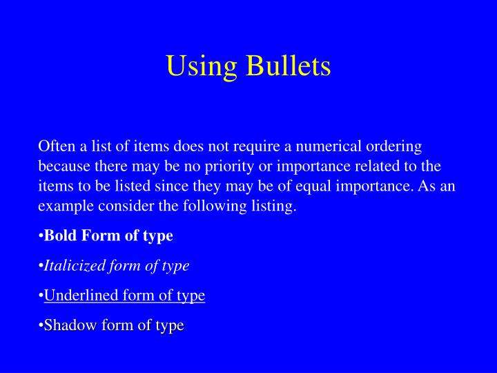 Using Bullets