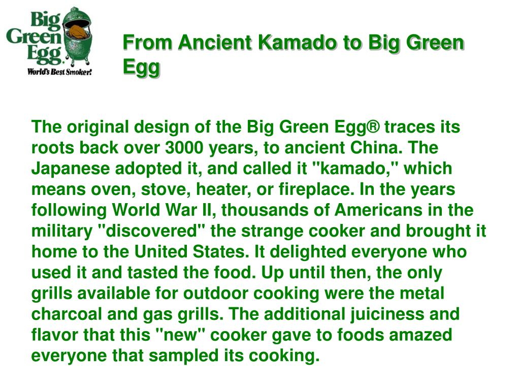 From Ancient Kamado to Big Green Egg