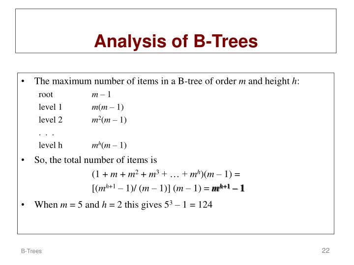 Analysis of B-Trees