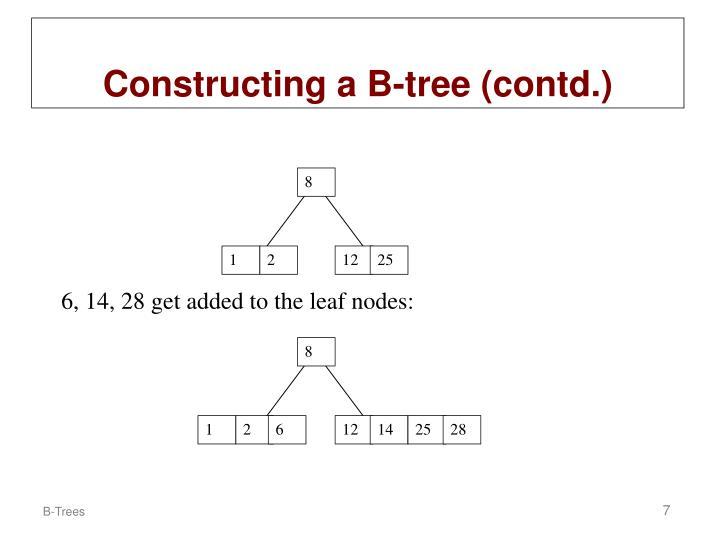 6, 14, 28 get added to the leaf nodes: