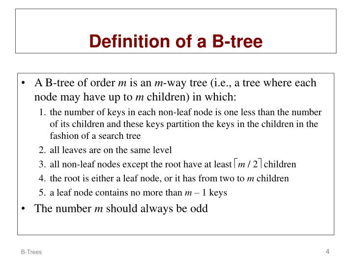 Definition of a B-tree