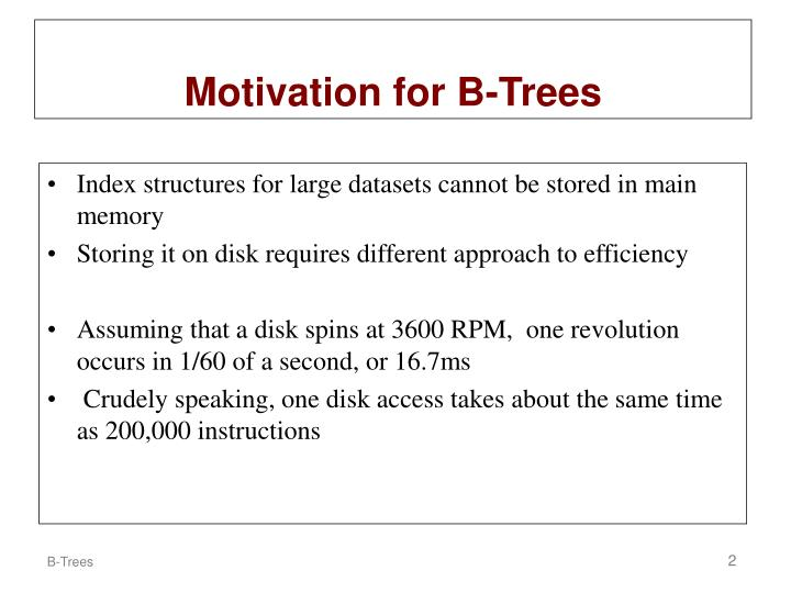 Motivation for b trees