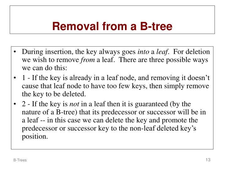 Removal from a B-tree