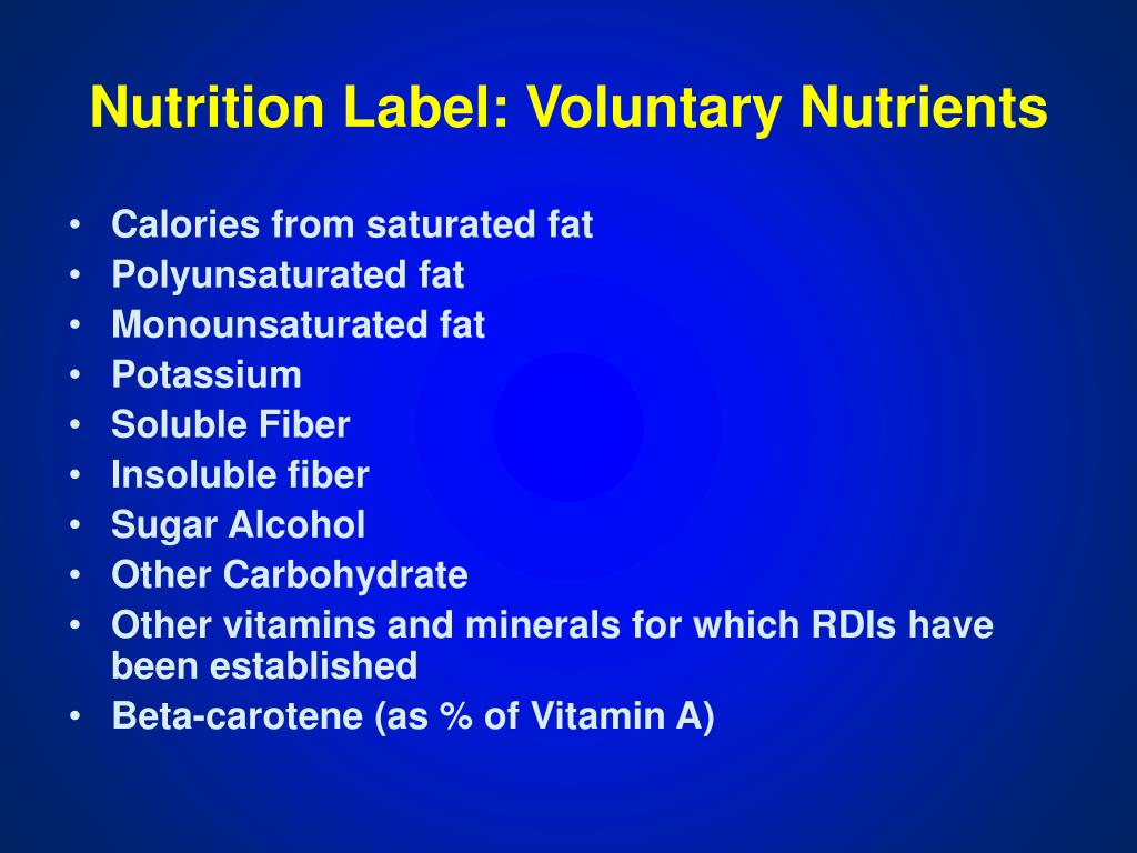 Nutrition Label: Voluntary Nutrients