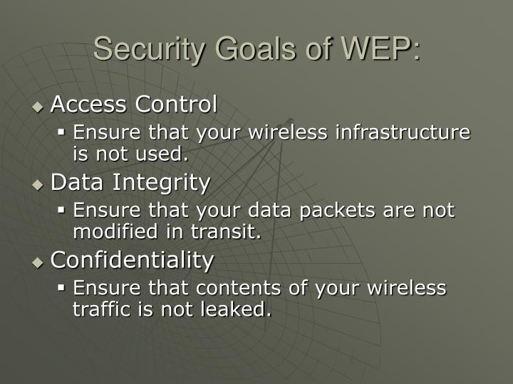 Security Goals of WEP: