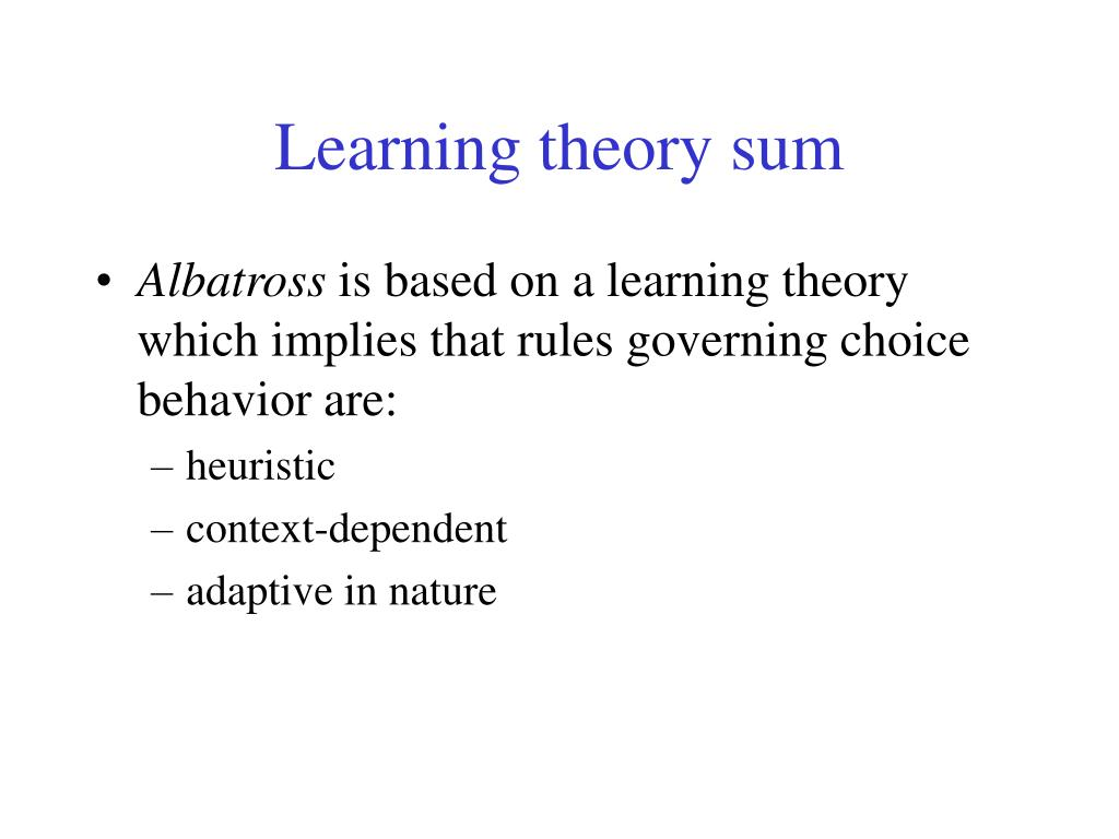 Learning theory sum
