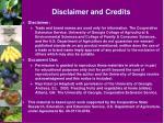 disclaimer and credits