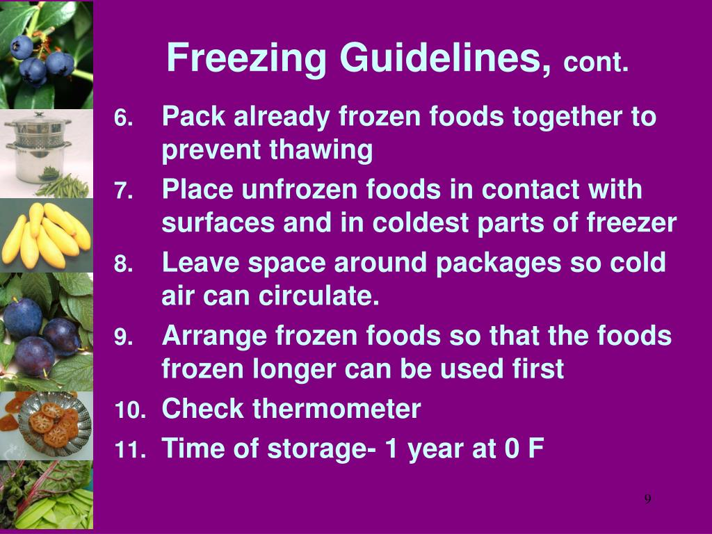 Freezing Guidelines,