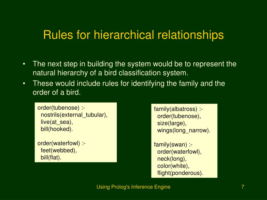 Rules for hierarchical relationships