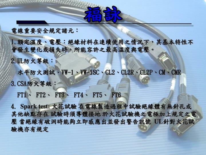 電線重要安全規定諸元: