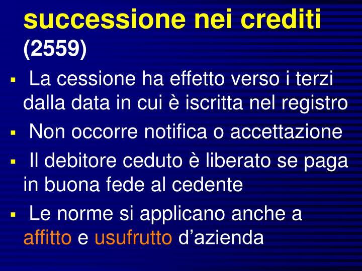 successione nei crediti