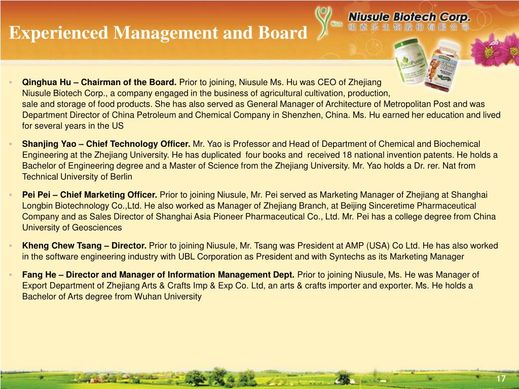 Experienced Management and Board