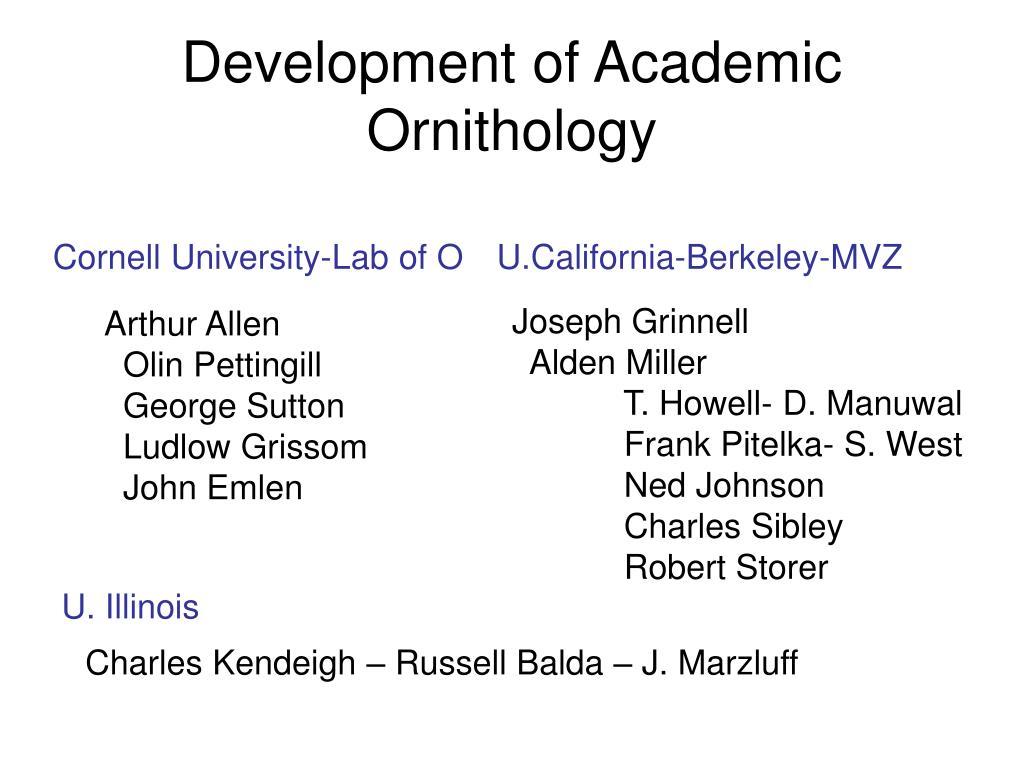 Development of Academic Ornithology