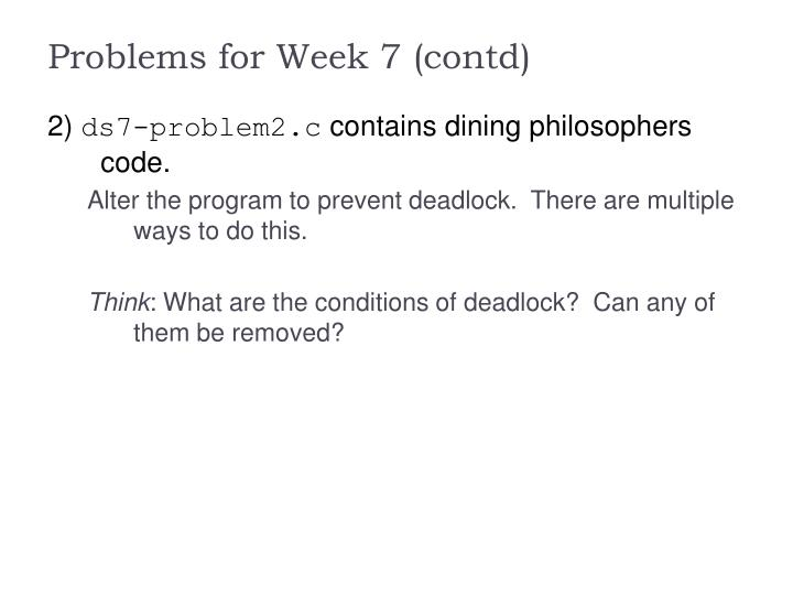 Problems for Week 7 (contd)