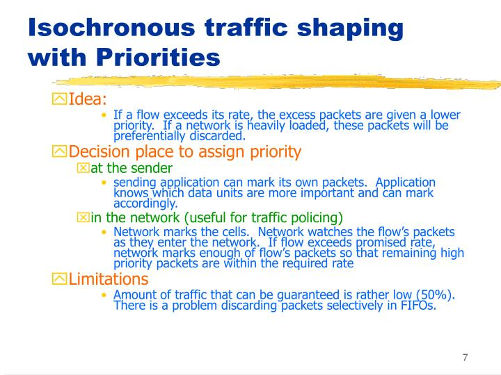Isochronous traffic shaping with Priorities