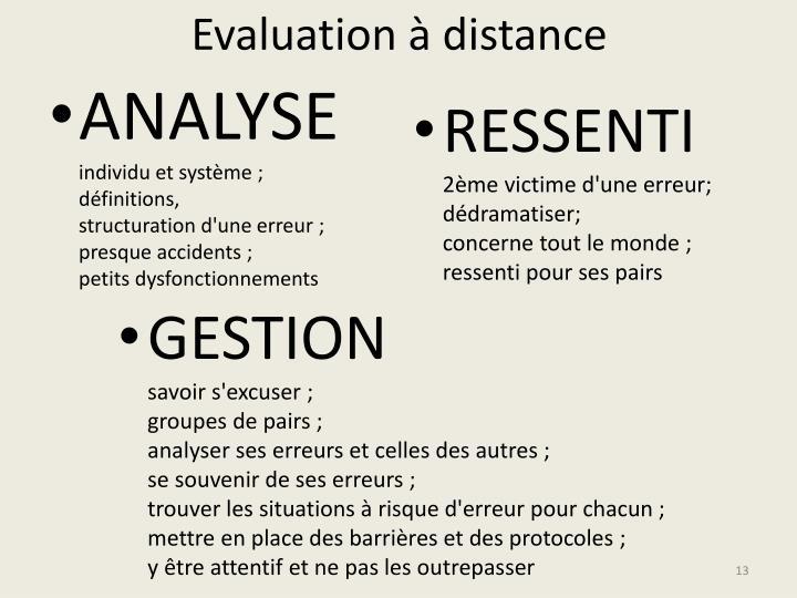 Evaluation à distance